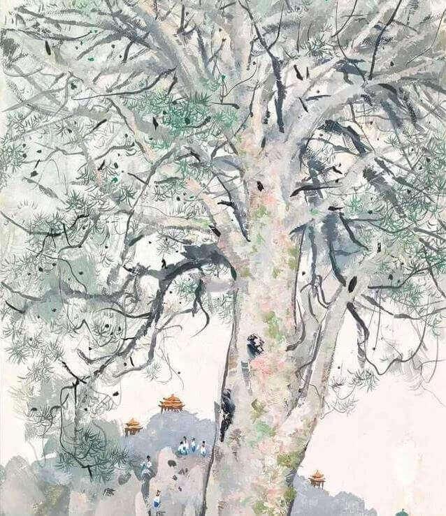 吴冠中的艺术作品《白皮松》
